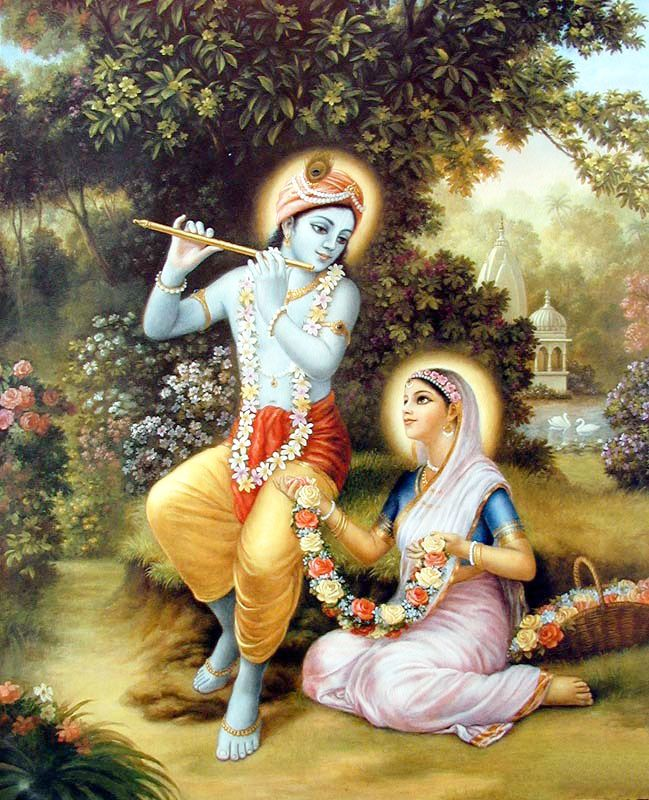Wallpaper of Krishna producing enchanting music for beloved Radha