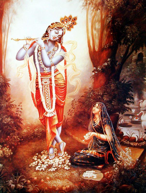 Wallpaper of Radha Rani in adoration of God Krishna