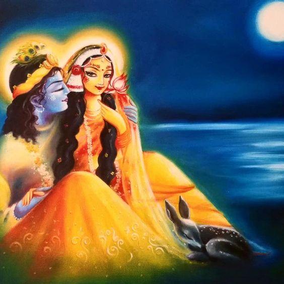 Divine Lover God Radha Krishna Most Beautiful Painting Wallpaper Download