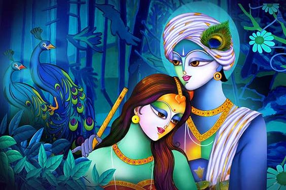 Divine Magician Lord Krishna with Radha Painting HD Wallpaper for Desktop Background