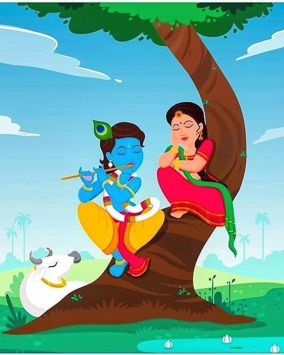 Eternal Lover Radha Krishna Beautiful Painting Wallpaper New Download
