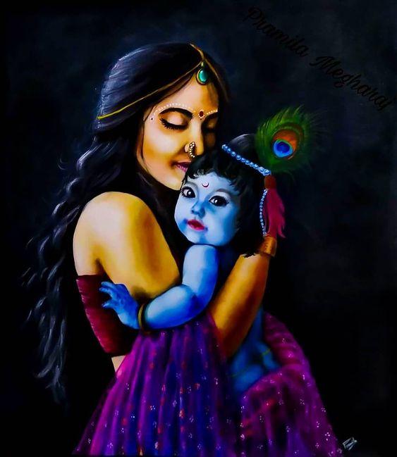 Krishna Radha God Latest Wallpaper Painting for Mobile