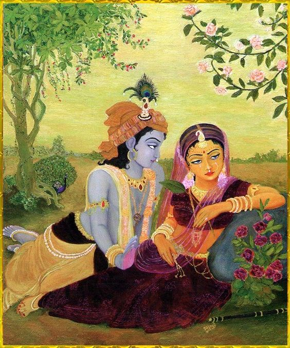Painting of Pure Lover Radha and Krishna Wallpaper