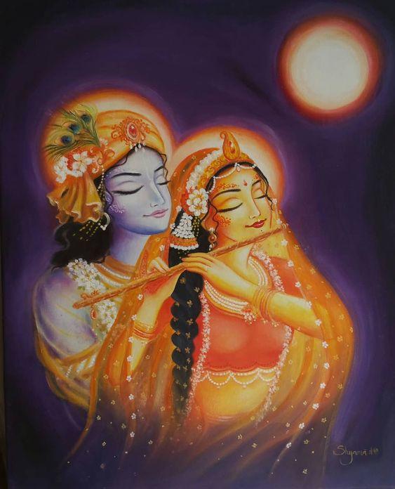 Radha Krishna Good Night Painting Wallpaper Download
