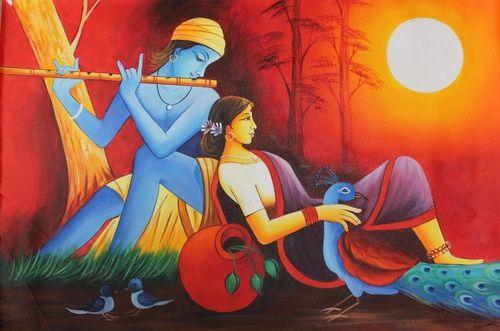 Radha Krishna Infatuated Painting Wallpaper hd Download Photo