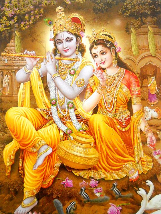 Radha Krishna Love Romantic Wallpaper Image with Nature