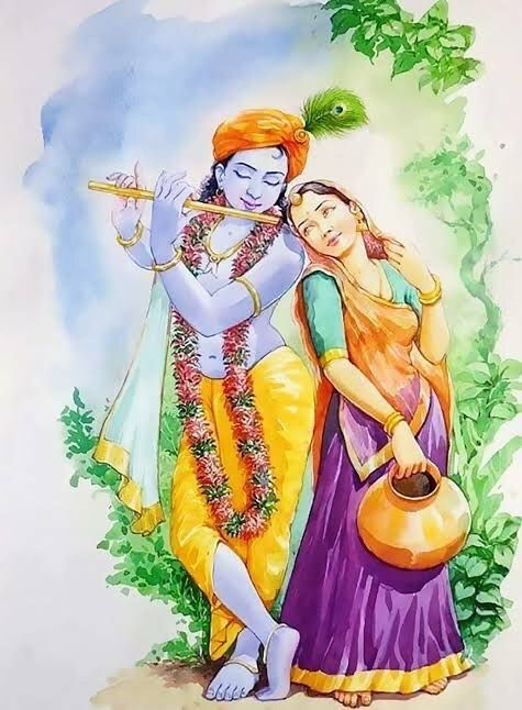 Radha Krishna Whatsapp Mobile Painting Wallpaper Status
