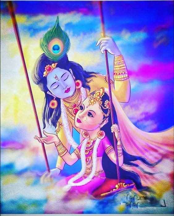 Radha and Krishna HD Love Painting Photo Wallpaper New