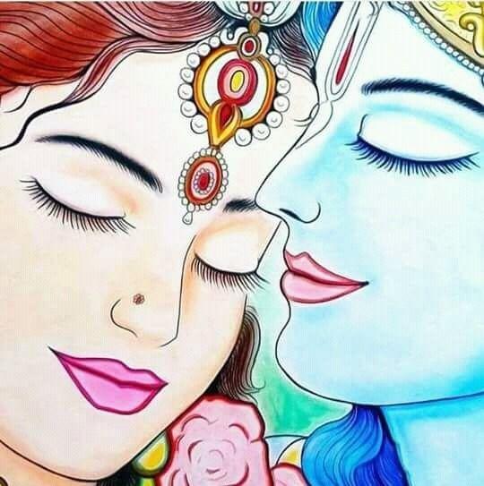 Romantic Couple Radha Krishna HD Beautiful Painting Wallpaper